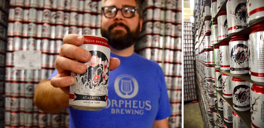 Holding Orpheus beer