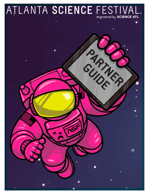 """Partner Guide cover that has astronaut ALEX holding an iPad that says """"Partner Guide"""""""