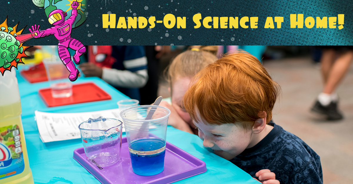 """Hands on Science At Home"" graphic featuring a young red-headed boy smiling at a table."